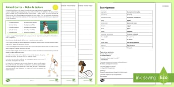 Roland Garros Differentiated Reading Comprehension Activity French - Roland,Garros, French, Open, tennis, champioships, championnats, tournoi, KS3, reading, comprehensio