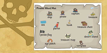 Pirate Word Mat - pirate word mat, pirates, pirate theme word mat, mat, pirate words, pirate word list, writing, literacy, writing aid, descriptive writing
