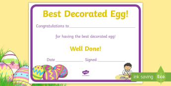 Best Decorated Egg Certificate - easter egg, decorated egg, best decorated egg, certificate, egg competition, egg, Easter, competitio