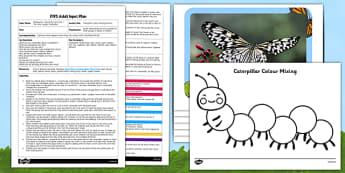 Caterpillar Colour Mixing EYFS Adult Input Plan and Resource Pack - caterpillar