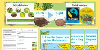 KS1 Fairtrade Fortnight Assembly Pack - SLT, Senior Leadership Team, Headteacher, Deputy Head, Key Stage Leader, Teacher, Assembly, Script,