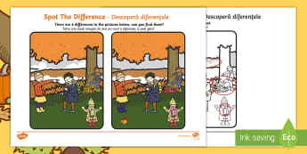 Autumn Spot the Difference Activity English/Romanian - Autumn Spot the Difference Activity - seasons, activities, games, EAL