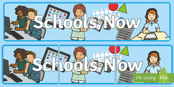 KS1 Schools Now Small Display Banner - New, Teaching, Modern, Now and Then, Change