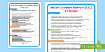 ASD Support Strategies Display Poster - autism spectrum disorder, SEN, behaviour, ideas,