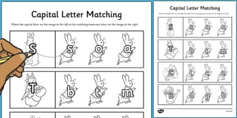 The Tale of Peter Rabbit Themed Capital Letter Matching Worksheet