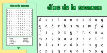 Sopa de letras - los días de la semana - calendario, decorción, palabras, buscar, ortografía