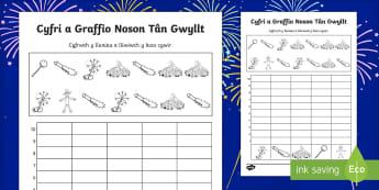 Noson Tân Gwyllt Taflen Weithgaredd Cyfri a Graffio - coelcerth, tan gwyllt, gwreichion, cyfri, graffio, bonfire, fireworks, sparklers, counting, graph.,W