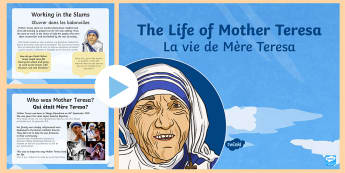 Mother Teresa PowerPoint English/French - KS2, Mother Teresa, significant individuals, RE, historical figures, PowerPoint, Christianity, saint