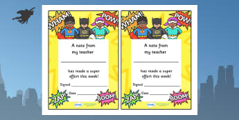 Note From Teacher Brilliant Effort (Superhero Themed) - note from teacher brilliant effort, brilliant effort, note from teacher, notes, praise, comment, note, teacher, teacher's, parents, brilliant, effort, good effort, superhero themed, superhero, s
