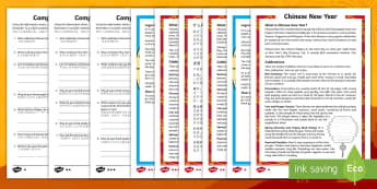 Chinese New Year Differentiated Reading Comprehension Activity English/Mandarin Chinese - Chinese New Year Differentiated Reading Comprehension Activity - chinese new year, sheet, comprehesi