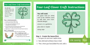 4 Leaf Clover Craft Instructions - NI St. Patrick's Day Resources, St Patricks, Art, Crafts, Design, Clover, Leaf