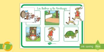 Actividad de emparejar: La liebre y la tortuga - NEE, cuento, infantil, moraleja, liebre, tortuga, fábula, fabula, animales,dificultades, educativos
