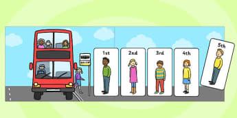 Bus Stop Ordinal Number Queue - order, number order, queue, bus