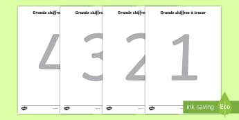 Large Tracing Numbers (French) - Tracing numbers, tracing sheet, 0-9 tracing, 0-9, number formation, number writing practice, foundation stage numeracy, writing, learning to write