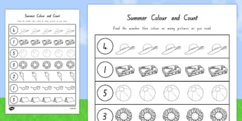 Summer Themed Count and Colour Sheet - nz, new zealand, colour, count, summer