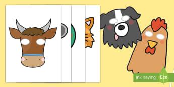 Little Red Hen Role Play Masks -  Little Red Hen, role play masks, role play, Traditional tales, tale, fairy tale, little red hen, cat, dog, horse, grain, wheat, flour, bread, no I, I will