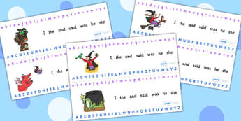 Alphabet Strips to Support Teaching on Room on the Broom - room on the broom, alphabet strips, alphabet, a-z, -z strips, alphabet tracks, alphabet lines, themed alphabet strips