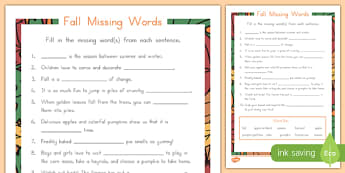 Fall Missing Words Activity Sheet, worksheet