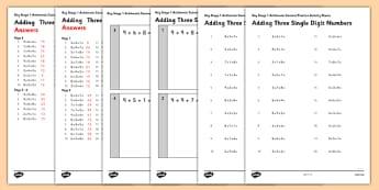 KS1 Arithmetic Practice Activity Sheet Pack Adding 3 Single Digit Numbers - Maths, KS1, Key Stage 1, Arithmetic, addition, subtraction single-digit, ones, add, subtract, worksheet