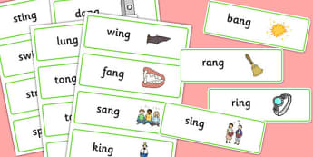 Final 'ng' Sound Word Cards - final ng, sound, word cards, word, cards