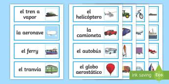 Transport Word Cards Spanish  - Spanish, KS2,transport, word, cards, vocabulary