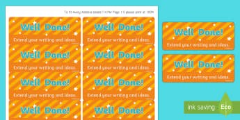 Extend Your Writing and Ideas Stickers - stickers, printable stickers, marking stickers, work marking stickers, extend your writing and ideas sticker