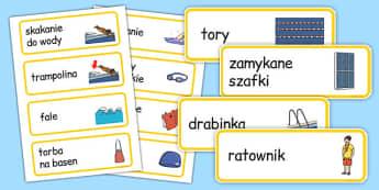 Karty ze słownictwem Pływalnia po polsku - basen, pływanie