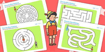 Pinocchio Differentiated Maze Activity Sheet Pack - mazes, games, worksheet