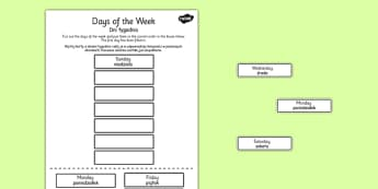 Days of the Week Cut and Stick Worksheet Polish Translation - polish, days of the week, cut, stick, days, week