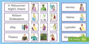 A Midsummer Night's Dream Word Cards - a midsummer night's dream, word cards, shakespeare