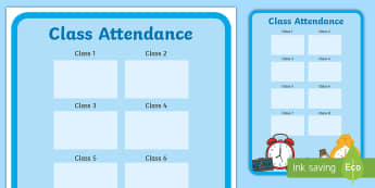 Editable Class Attendance Display Poster - attendance, class scores,edit, Improving attendance, school targets, Monitoring