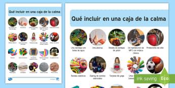 Como hacer una caja de la calma - calmar, calma, zona de calm, zona de descanso, descanso, conflicto, estrés, Spanish-translation