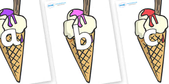 Phoneme Set on Ice Cream Cones to Support Teaching on The Very Hungry Caterpillar - Phoneme set, phonemes, phoneme, Letters and Sounds, DfES, display, Phase 1, Phase 2, Phase 3, Phase 5, Foundation, Literacy