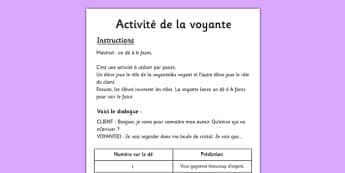 Activité de la voyante French - french, fortune telling, activity, using, future, simple