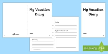 Two Week Holiday Diary Writing Frame - usa, america, 2 week holiday diary writing frame, 2 week holiday diary, writing frame, diary, journal, 2 week, planner, my diary, booklet, page border, writing template, holidays, record, activity, filling in