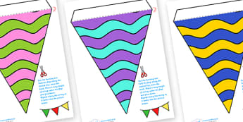 Display Bunting (Waves) - Bunting, display bunting, classroom bunting, decorative bunting, royal wedding, classroom display