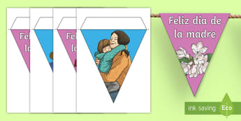Happy Mother's Day Display Bunting - Spanish - Spanish, KS2, vocabulary, bunting, happy, mother's, day, classroom, decoration, display