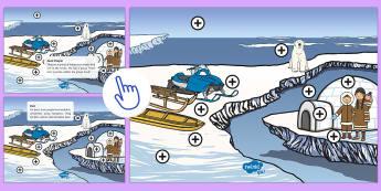 Inuit People Picture Hotspots - The Arctic, Inuit, Inuk, travel, live, igloo, Polar Regions, North Pole, cold, snow, ice, polar bear, Twinkl Go, twinkl go, TwinklGo, twinklgo