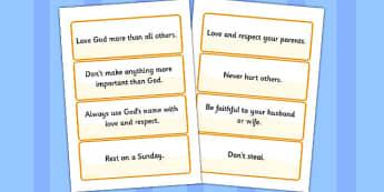 The 10 Commandments Word Cards - 10 commandments, word cards