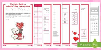 LKS2 The Stolen Teddy on Valentine's Day Mystery Game - Valentine's Day,  Feb 14th, love, cupid, hearts, valentine, mystery maths, maths skills, decimals,