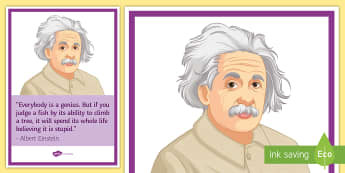 Albert Einstein A4 Display Poster - Disability awareness, disability, respect, special needs, disabled