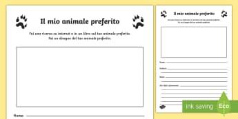 Il mio animale preferito Attività - il, mio, animale, rpeferito, esercizio, di, scrittura, descrizione, italiano, italian, elementari, m