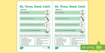 Sit, Throw, Stand, Catch Cricket Activity Sheet  - PE Curriculum Aims KS2, Play competitive game, modified where appropriate, and apply basic principle