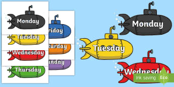 Days of the Week on Submarines - Submarine, Weeks poster, Months display, display, poster, frieze, Days of the week
