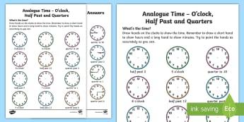 Analogue Time O'Clock, Half Past and Quarters Activity Sheet - NI KS1 Numeracy, o'clock, time, half past, quarter, home learning, analogue time, worksheet