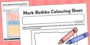 Mark Rothko Colouring Sheet - mark, rothko, colouring, sheet