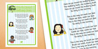 Here We Go Round the Mulberry Bush - Nursery Rhyme Large Display Poster - Physical development, eyfs, movement, songs