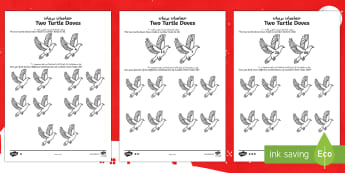 Two Turtle Doves Activity Sheets Arabic/English - Christmas Maths, two turtle doves, Twelve Days of Christmas maths, number bonds, pair, total, find,