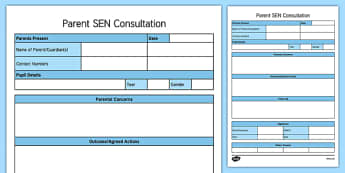 Parent SEN Consultation Writing Template