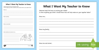 What I Want My Teacher to Know Activity Sheet - transition, new class, Ks2, UKS, LKS2, all about me